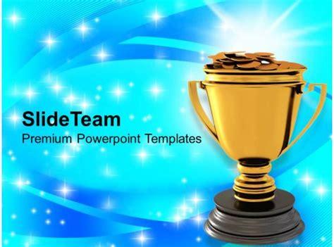 golden trophy  dollar coins reward winner powerpoint