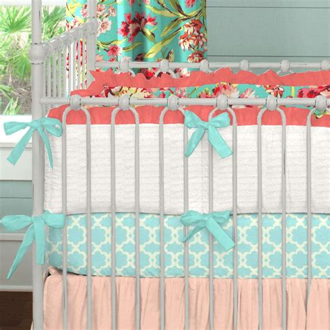 Coral And Teal Floral Crib Bedding  Girl Baby Bedding