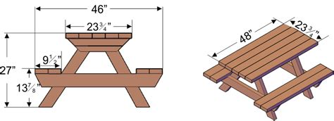 Picnic Bench Dimensions by Kid Size Wood Picnic Table With Attached Benches Forever