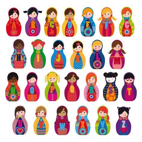 chambre pour deux enfants sticker abcdaire poupées russes