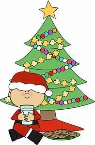 Boy Santa with Cookies and Milk Clip Art - Boy Santa with ...