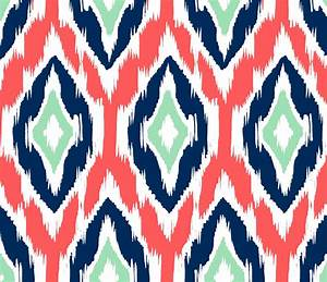ikat fabric by the yard coral navy and mint With ikat fabric coral