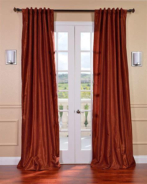 burnt orange vintage faux dupioni silk curtain panel