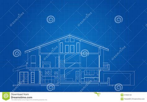 modern american house facade section stock vector illustration  residence plan