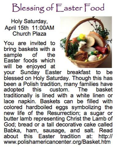 Teaching kids prayer is an important step in showing them the ways of our faith. Blessing of Easter Food - St. Viator
