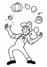 Juggler Coloring Vegetable Pages Printable sketch template