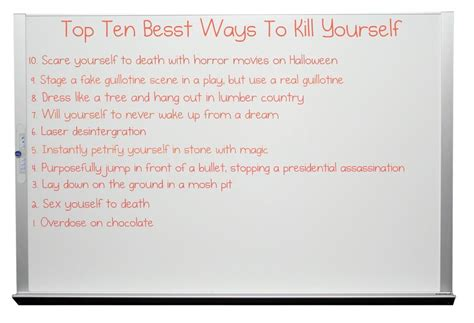Top 10 Best Ways To Kill Yourself By Cori573 On Deviantart