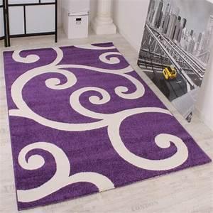lalee tapis design a motifs blancs sur fond violet 60 x 100 cm With chambre bébé design avec ou acheter le tapis champ de fleurs