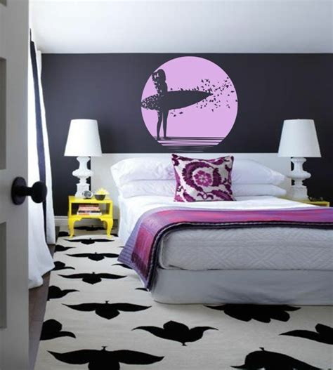 purple and gray bedroom themes idee deco chambre ado fille sticker surf ideeco