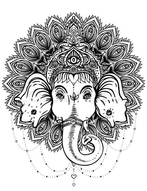 Hindu Lord Ganesha over ornate mandala pattern. Vector illustration. Vintage decorative. Hand