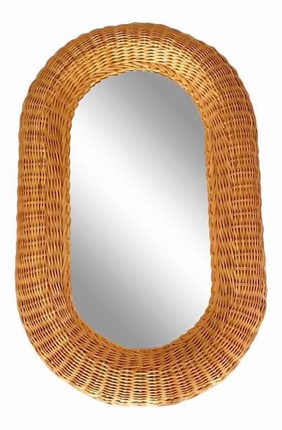 Mirror Oval Boho Wicker Honey Chairish Rattan
