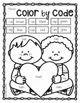 Kindergarten Valentine Valentines Code Coloring February Pages Themes Activities Winter Preschool Words Number Literacy Skills Teacherspayteachers Sold Letters Lesson Plans sketch template