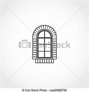 Vectors of Vintage window vector icon. Flat exterior ...