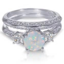 white opal engagement rings white gold sterling silver cut white opal wedding engagement ring set ebay