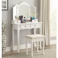 make up table Amazon.com: Roundhill Furniture Sanlo White Wooden Vanity ...