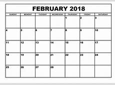 Blank Calendar February 2018 Qualads