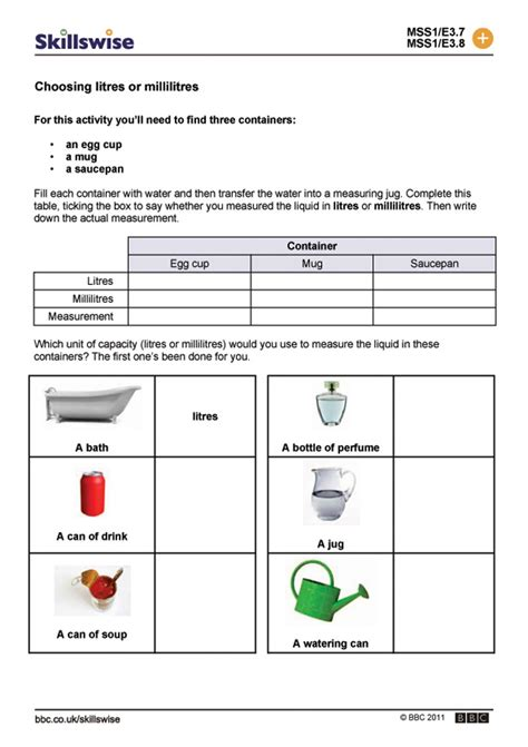 choosing litres or millilitres