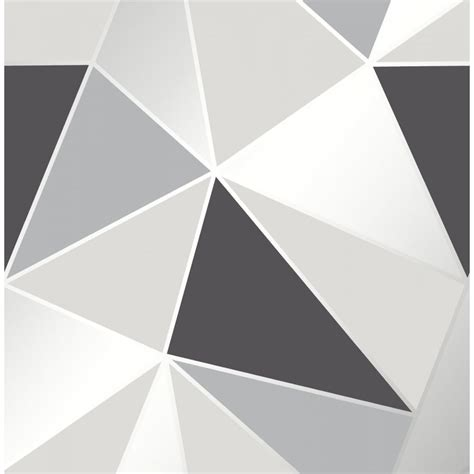 fine decor apex geometric black  silver wallpaper