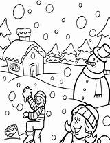 Coloring Winter Pages Snow Snowball Fight sketch template