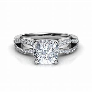 split shank micropave cushion cut engagement ring With wedding rings cushion cut