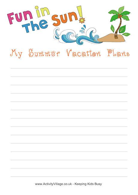 summer vacation plans printable