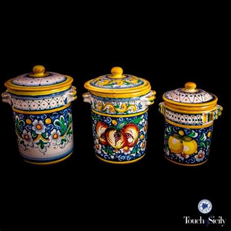 italian canisters kitchen italian pottery canister set pattern c kitchen