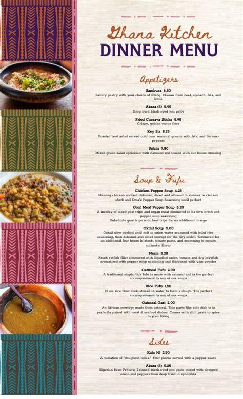 african dinner menu design template  musthavemenus