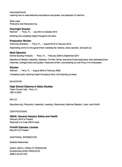 Resume Stocker Position by Stocker Resume Exle Resumes Design