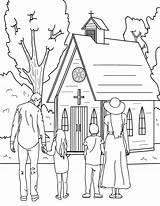Church Coloring Going Printable Sunday Museprintables Drawing Bible Human sketch template