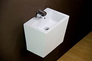 Basin sink wall hung mounted pedestal bathroom ceramic for How to install wall mounted sink