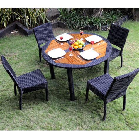table et chaises jardin ensemble table ronde de jardin en teck et chaises de