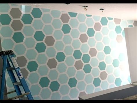 paint  hexagon shaped honeycomb accent wall youtube