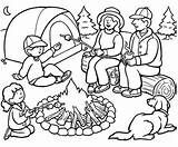 Coloring Camping Camper Happy Printable Camp Scout sketch template