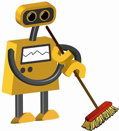 Robot Janitor Clipart Background Cartoon Cartoons Clear
