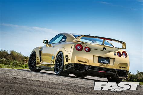 top secret nissan gtr  smoky nagata gold  fast car