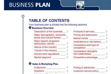 Business plan table of contents template costumepartyrun business plan table of contents template good example of accmission Gallery