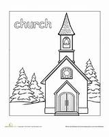 Church Coloring Places Pages Town Preschool Worksheet Education Paint Community Catholic Adult Bible Books Building Templates Christmas Printable Drawing Template sketch template
