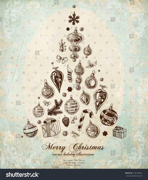 christmas tree  xmas engraved icons stock vector