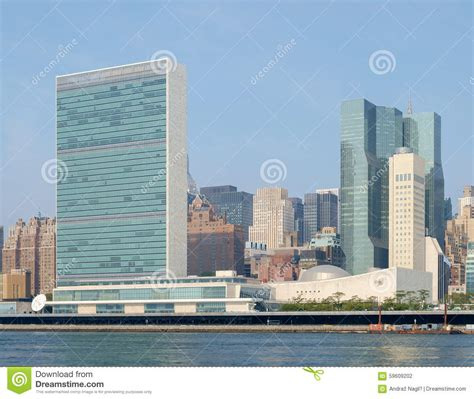 si鑒e de l onu complexe de siège des nations unies de l 39 onu comme vu de roosevelt is photo stock image 59609202
