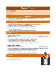 experienced pediatric resume 16 free assistant resume templates