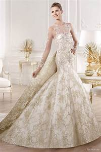 wedding dress with gold lace sang maestro With gold dresses for wedding