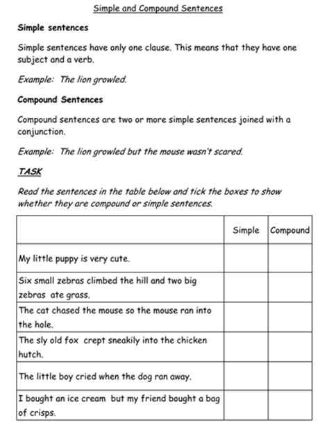 simple  compound sentences worksheet teaching resources