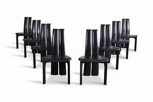 Esszimmerstühle Leder Schwarz : schwarze leder esszimmerst hle 1970er 8er set bei pamono ~ Watch28wear.com Haus und Dekorationen