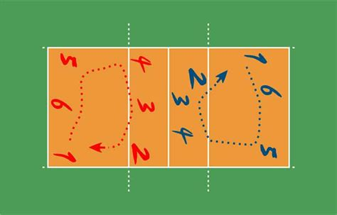 volleyball positions court dimensions players rotations