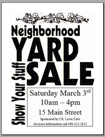 community garage sale flyer template garage sale