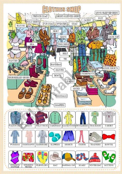 clothes shop pictionary reuploaded esl