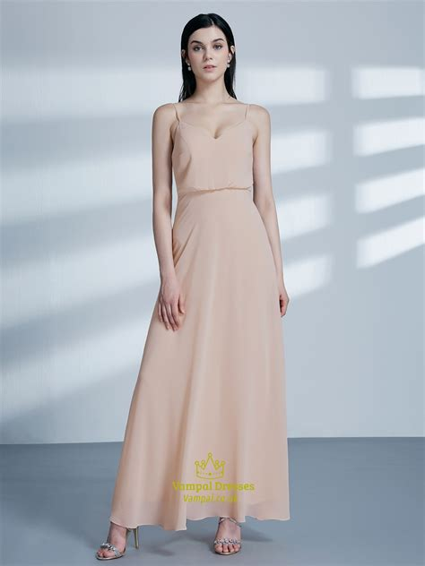 simple   blush pink spaghetti strap chiffon long prom