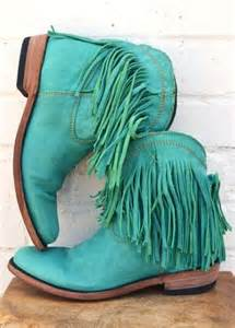 Cowgirl Turquoise Fringe Boots