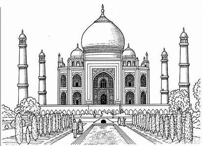 Taj Mahal Coloring Pages Drawing Sketch Printable