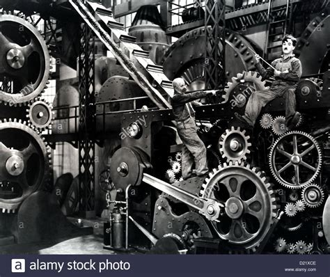 moderne zeiten modern times charles chaplin in seinem geraet stock photo royalty free image